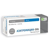 Азитромицин-OBL, капс. 250 мг №6